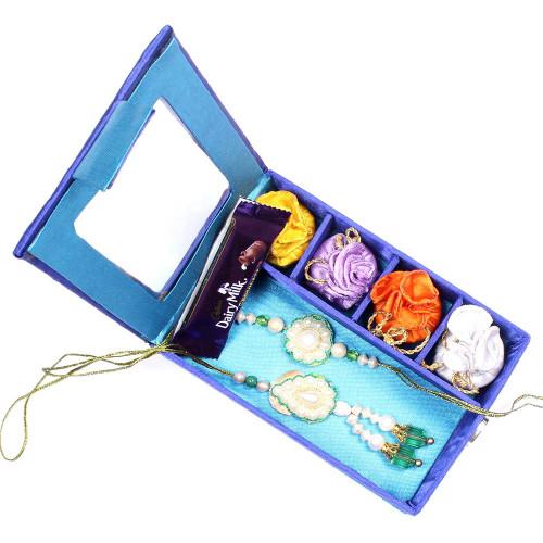 Appealling Pearl Bhaiya Bhabhi Rakhi in Gift Box