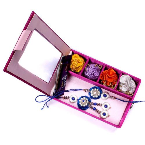Beautiful Blue Bhaiya Bhabhi Rakhi in Gift Box
