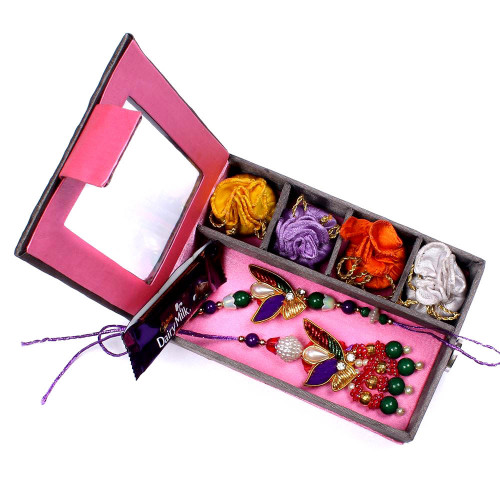 Rakhi for Bhaiya Bhabhi to Canada in Gift Box- Rakhis Online -BBR 006 4P