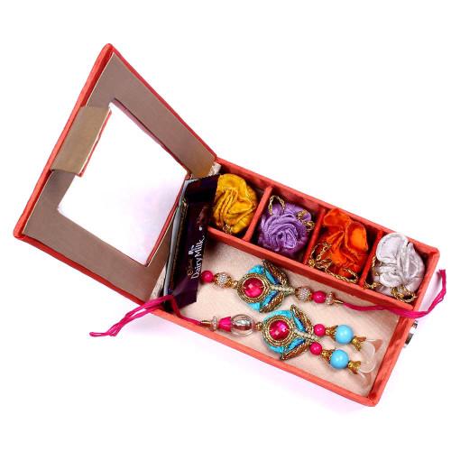 Delicate Pink n Blue Bhaiya Bhabhi Rakhi in Gift Box