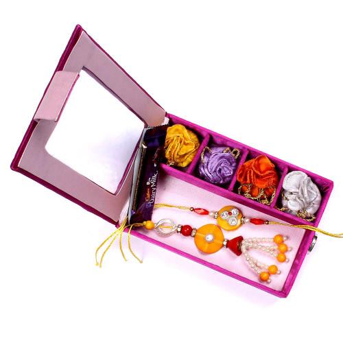Designer Yellow Bhaiya Bhabhi Rakhi in Gift Box