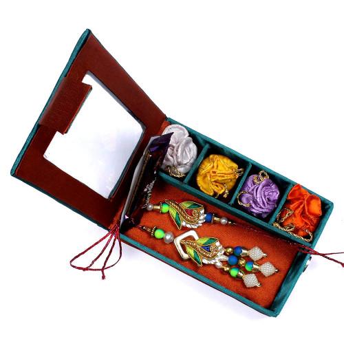 Peacock Pattern Designer Bhaiya Bhabhi Rakhi in Gift