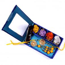 send Bhaiya Bhabhi Rakhi to India in Gift Box- Rakhis Online -BBR 012 4P