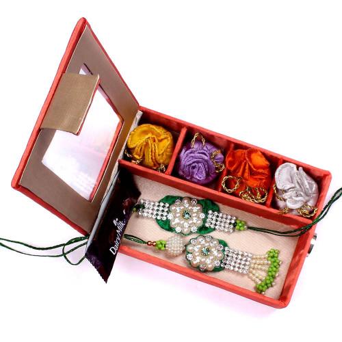 Rakhi for Bhaiya Bhabhi to UK in Gift Box- Rakhis Online -BBR 007 4P