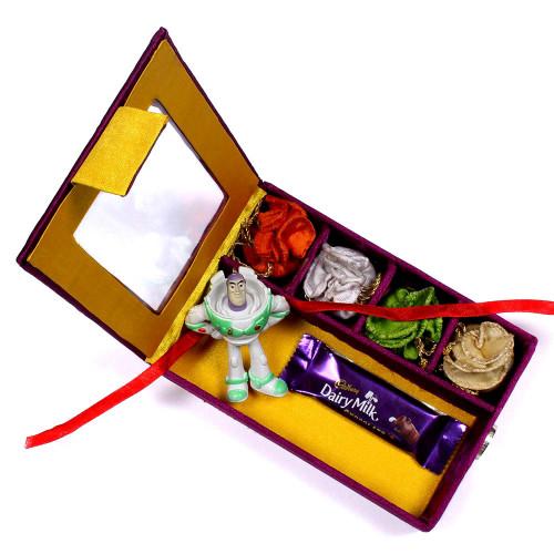 Kids Rakhi in Gift Box online to Singapore - Rakhis Online -KR 010 4P