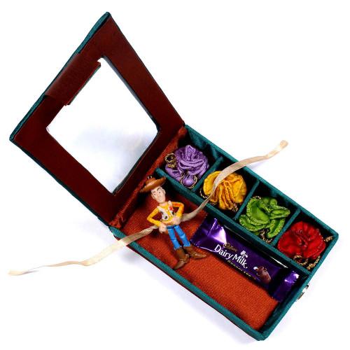 Kids Rakhi in Gift Box online Worldwide - Rakhis Online -KR 011 4P