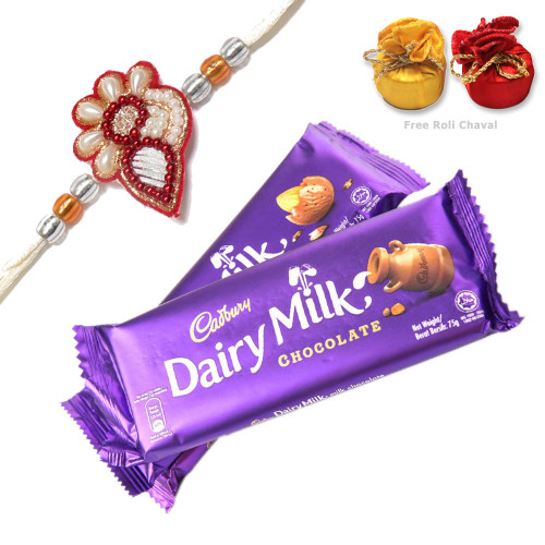 Rakhi with 2 Dairy Milk Chocolates