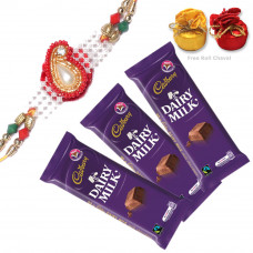 Rakhi with 3 Dairy Milk Chocolates