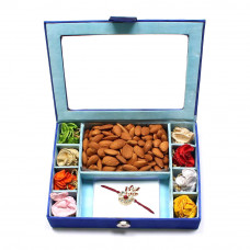Rakhi Gifts Brother India - Brother Rakhi Gift Box with almonds- Rakhis Online -BR 304 8PBM