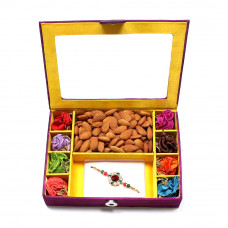 Rakhi Gifts for Brother online - Rakhi Gift Box with almonds- Rakhis Online -BR 302 8PBM