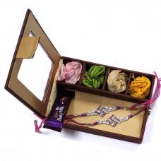 Rakhi gift Set - two Brother Rakhi Set Gift Box- Rakhis Online -BR 010 DR4P