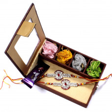 send Rakhi Set to Australia - two Brother Rakhi Set Gift Box- Rakhis Online -BR 011 DR4P