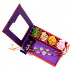e-Rakhi for Brother - two Brother Rakhi Set Gift Box- Rakhis Online -BR 029 DR4P