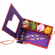 designer Rakhi for Brother - two Brother Rakhi Set Gift Box- Rakhis Online -BR 028 DR4P