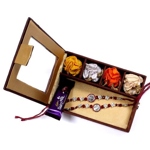 Rakhi sets to Australia - two Brother Rakhi Set Gift Box- Rakhis Online -BR 012 DR4P