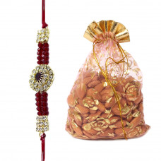 Beautiful Floral Pearl Brother Rakhi with Almonds