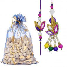 Beautiful Pearl Couple Rakhi with Cashew Nuts