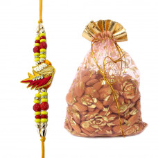 Beautiful Red and Yellow Brother Rakhi with Almonds