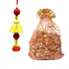 Beautiful Red n Golden Lumba Rakhi with Almonds