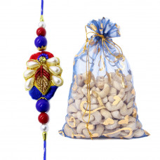 Blue Pearl Rakhi with Cashew Nuts