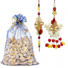Butterfly Shaped Couple Rakhi with Cashew Nuts