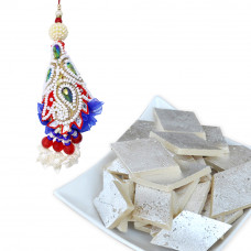 Cashew Pattern Pearl Lumba Rakhi for Bhabhi with Kaju Katli