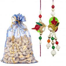 Colourful Resham Couple Rakhi with Cashew Nuts