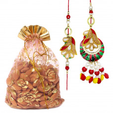 Contrasting Colour Couple Rakhi with Almonds