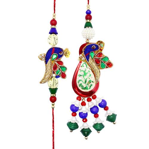 Delicate Peacock Bhaiya Bhabhi Rakhi