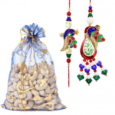 Delicate Peacock Couple Rakhi with Cashew Nuts