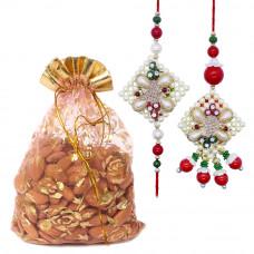 Delicate Pearl Bhaiya Bhabhi Rakhi with Almonds