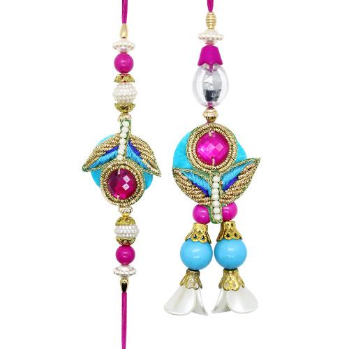 Delicate Pink n Blue Bhaiya Bhabhi Rakhi