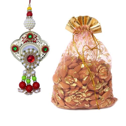 Designer Floral Lumba Rakhi with Almonds