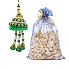 Designer Green Lumba Rakhi with Cashew