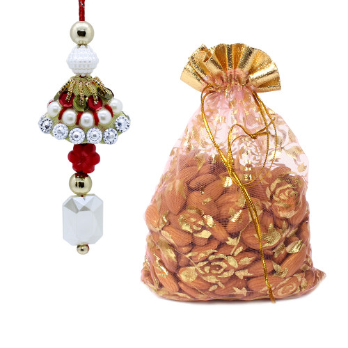 Fancy Lumba Rakhi for Bhabhi with Almonds