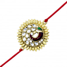 Gemstone Peacock Floral Brother Rakhi