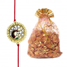 Gemstone Peacock Floral Brother Rakhi with Almonds