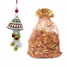 Gemstone Pearl Studded Lumba Rakhi with Almonds