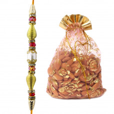 Golden White Dial Brother Rakhi with Almonds