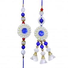 White n Blue Floral Bhaiya Bhabhi Rakhi