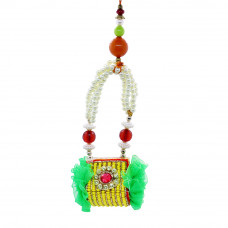 Multi-Colour Beads Studded Lumba Rakhi for Bhabhi