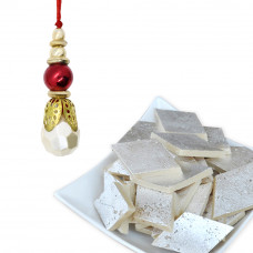 Pearl Stone Beads Bhabhi Rakhi with Kaju Katli