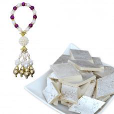 Pearl Studded Bracelet Studded Lumba Rakhi with Kaju Katli
