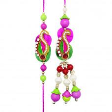 Pink and Green Studded Bhaiya Bhabhi Rakhi