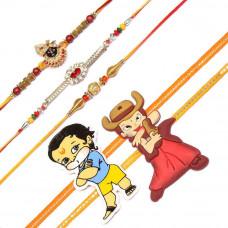 Golden Beads Rakhi Set