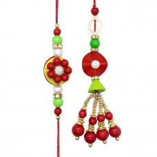 Red Pearl Couple Rakhi