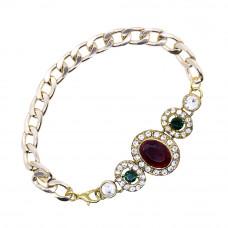 Red and Green Stone Studded Bracelet Rakhi