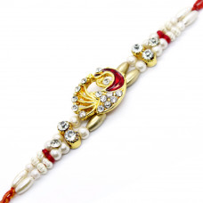 Red and White Peacock Rakhi