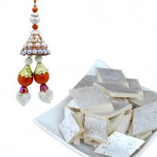 Semi Precious Lumba Rakhi with Kaju Katli