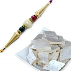 Splendid Pearl Bracelet Rakhi with Kaju Katli